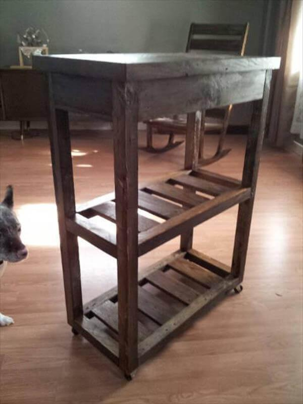 pallet kitchen cart with shelves