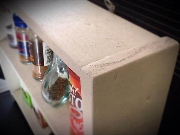 reused pallet kitchen spice rack