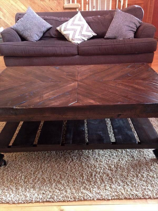 diy pallet dark brown chevron coffee table