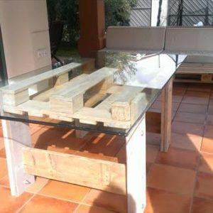 reclaimed pallet table with glass top