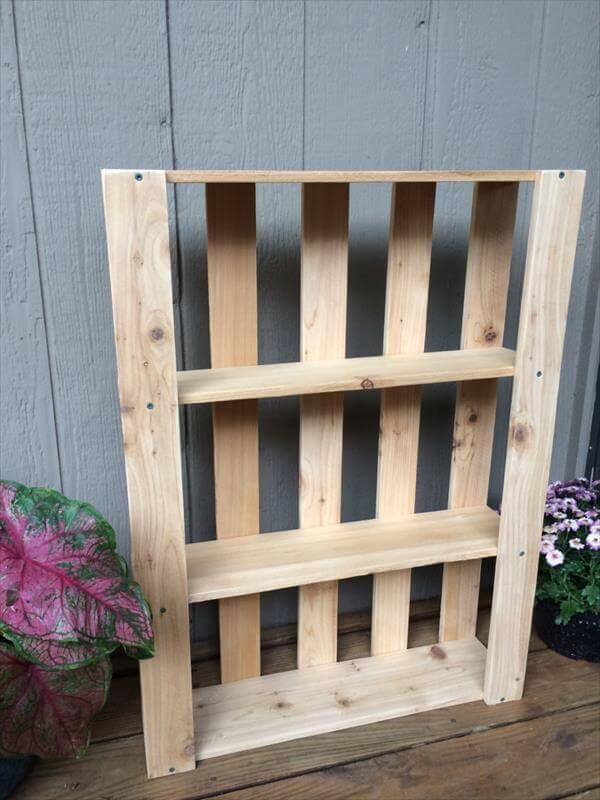 reused pallet wall hanging shelves