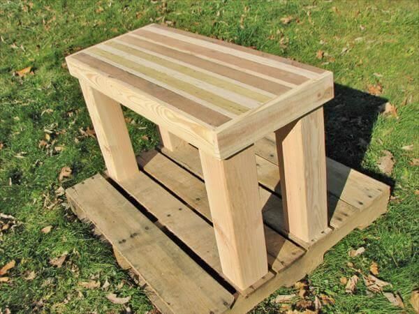 handmade pallet side table and bench