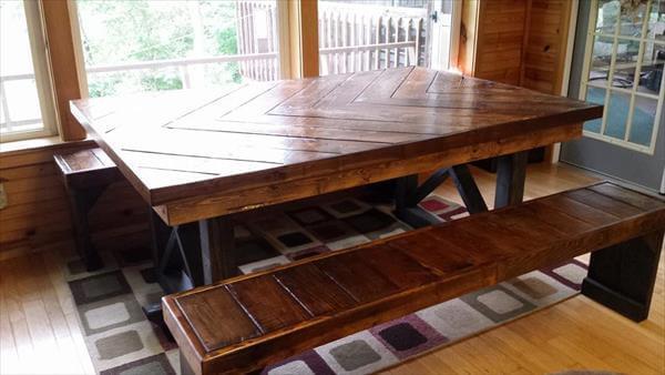 reused pallet chevron kitchen table