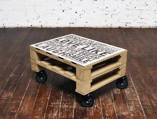 diy pallet coffee table with metal plate