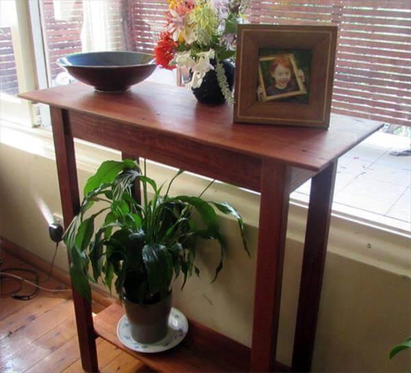 recycled pallet hall table and end table
