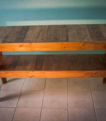 recycled pallet media console and TV stand