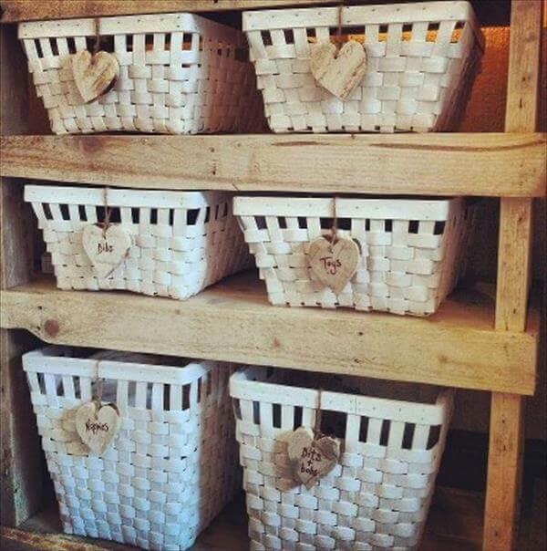handcrafted pallet storage shelf