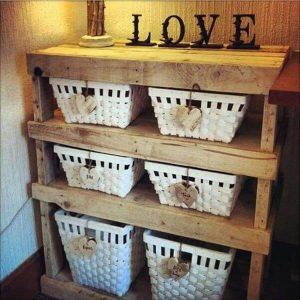 recycled pallet storage shelf