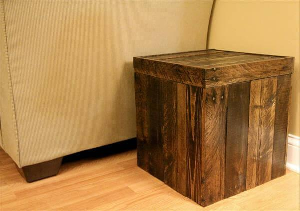 recycled pallet storage cube and ottoman
