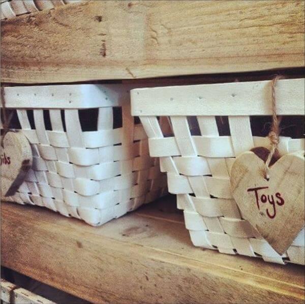 upcycled pallet shelf with basket storage
