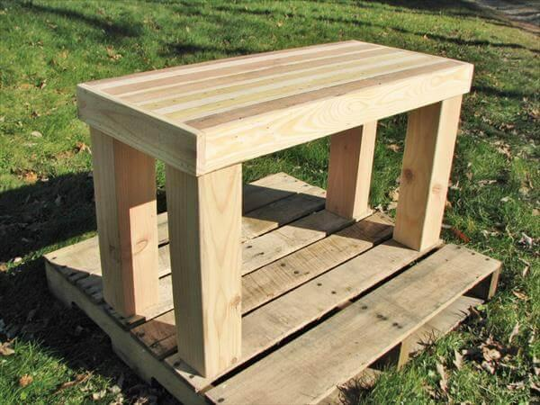 reclaimed pallet wood side table and butcher block