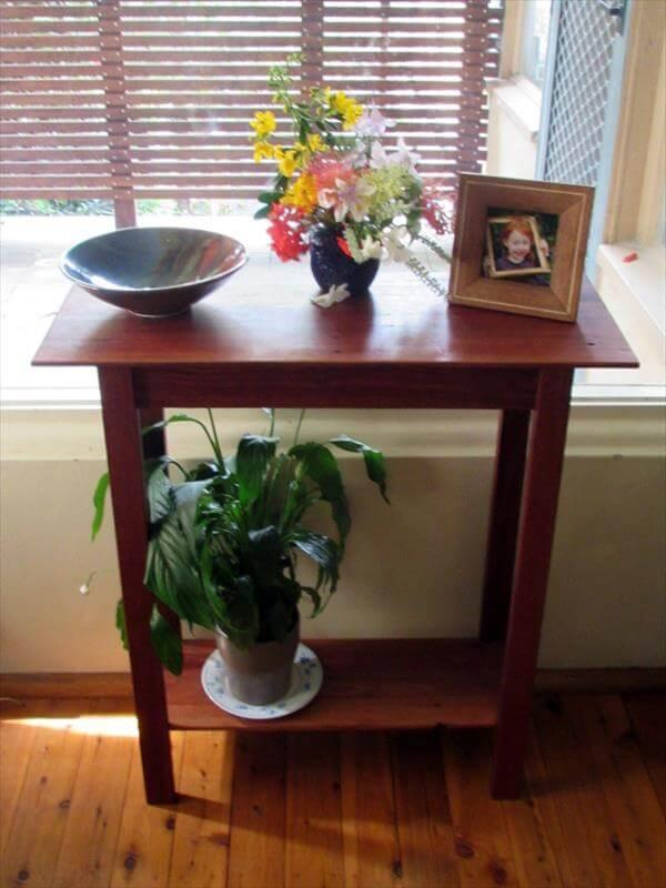 salvaged pallet brick red hall table
