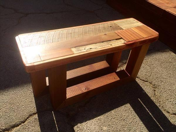 reused pallet entry bench