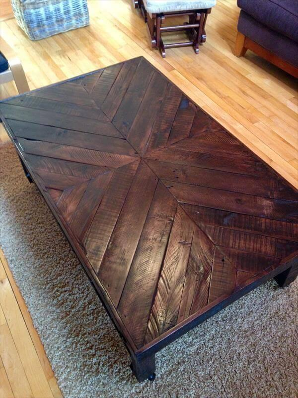 recycled pallet rustic chevron coffee table