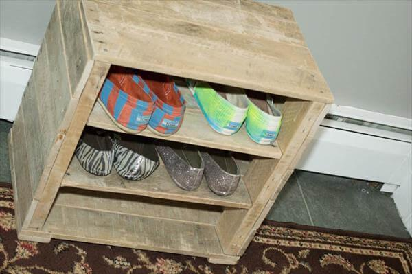 upcycled pallet miniature shoes rack