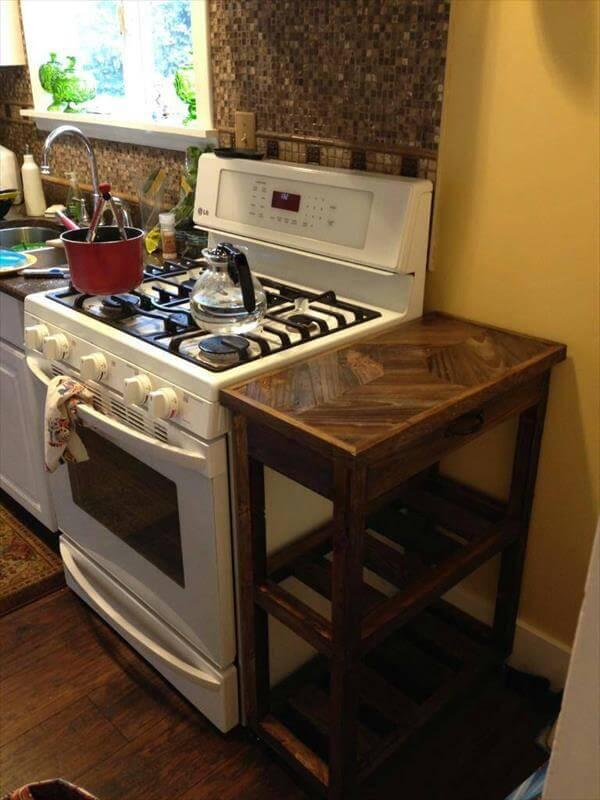 rustic pallet kitchen cart with wheels