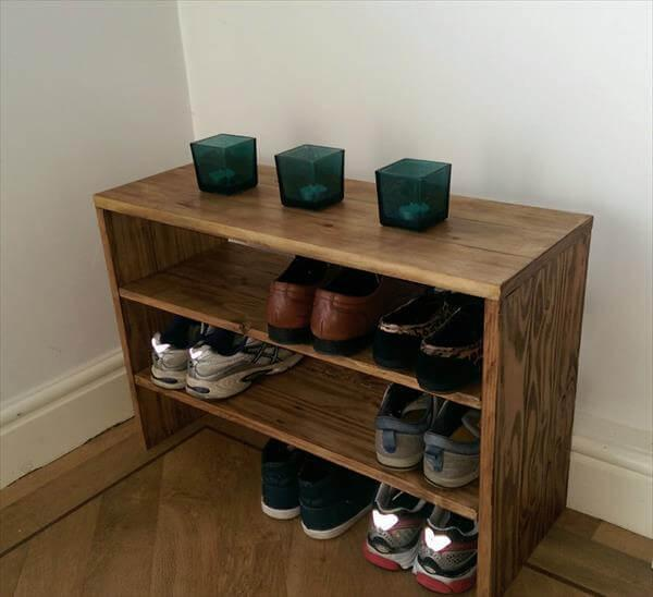 Diy Shoe Rack Made With Pallets 101 Pallets