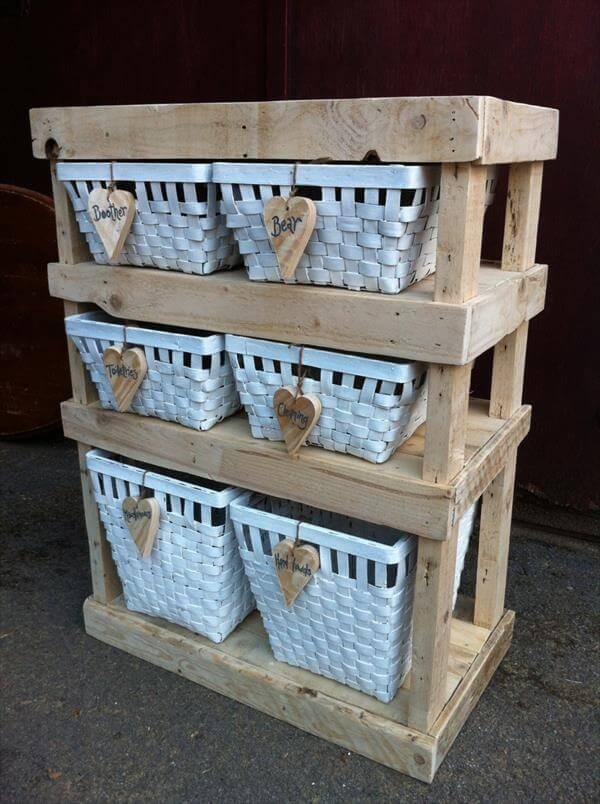 repurposed pallet storage and decorative shelf