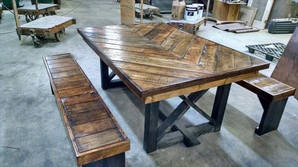 Diy pallet chevron kitchen table 101 pallets for How to make a pallet kitchen table