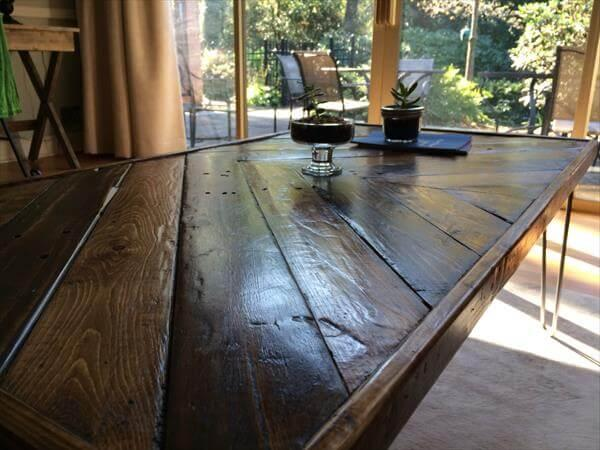 diy pallet chevron coffee table with metal legs