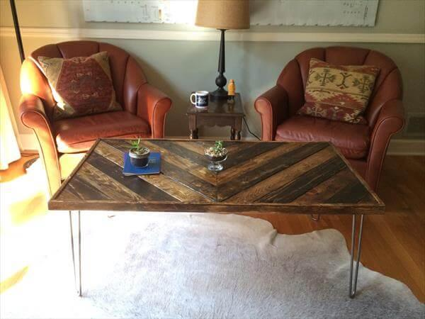 single chevron pallet coffee table with metal legs