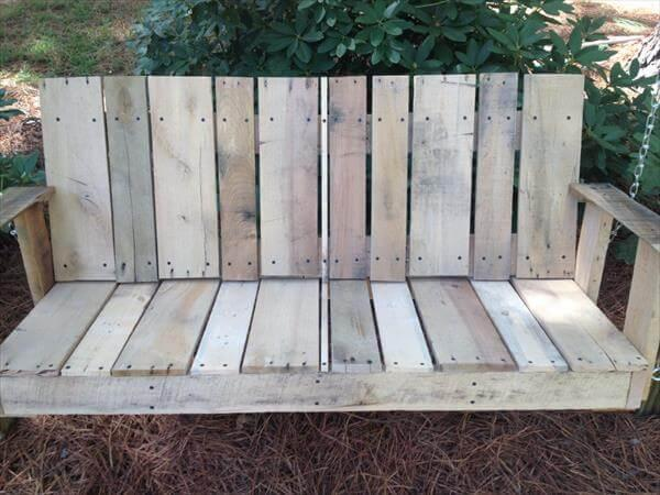 upcycled pallet two seated garden swing
