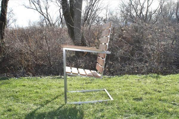 upcycled pallet and steel patio chair