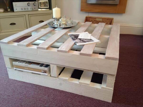 Shabby chic pallet coffee table with storage 101 pallets for Pallet shabby chic