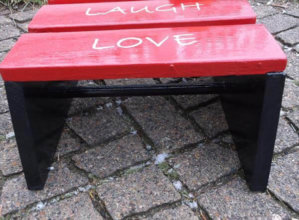 upcycled pallet painted stool