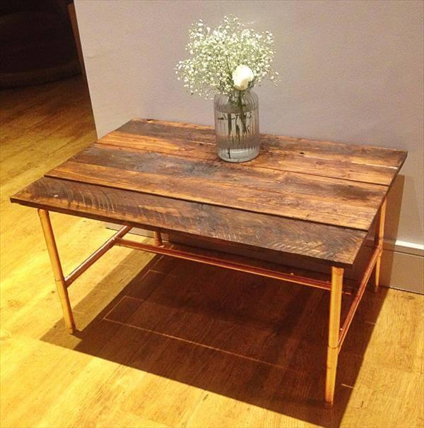repurposed pallet and copper coffee table