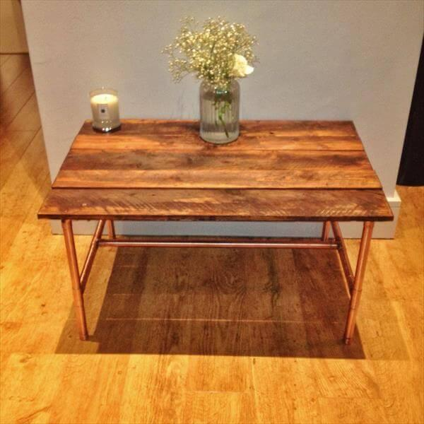 diy pallet and copper coffee table