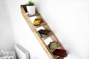 DIY Pallet Stair Wall Shelf with 5 Steps