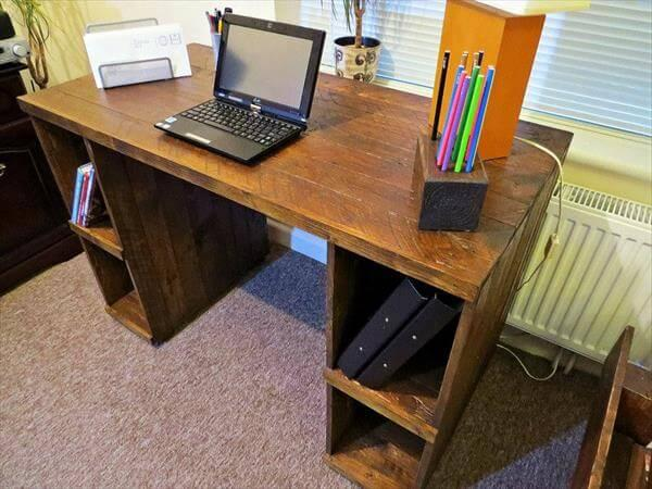 Diy Pallet Computer Desk With Storage 101 Pallets