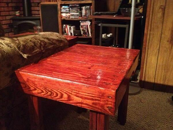 handcrafted pallet end table