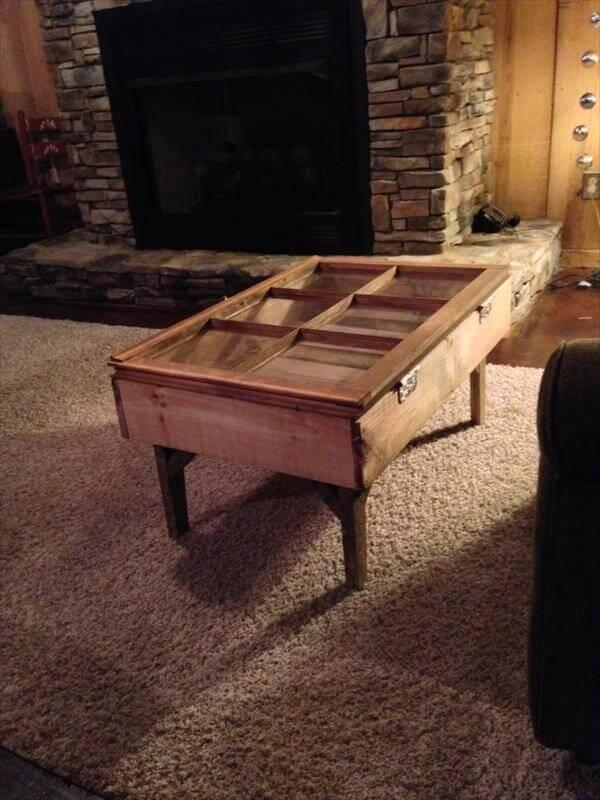 upcycled pallet and old window coffee table