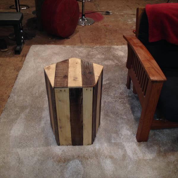 recycled pallet pentagonal side table