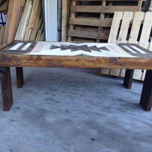 repurposed pallet textured top coffee table