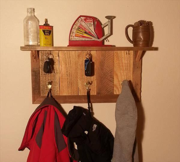 upcycled pallet coat rack and key organizer
