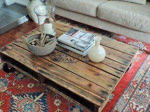 DIY Solid Pallet Coffee Table with Wheels