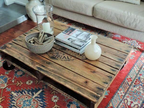handcrafted pallet coffee table wth casters