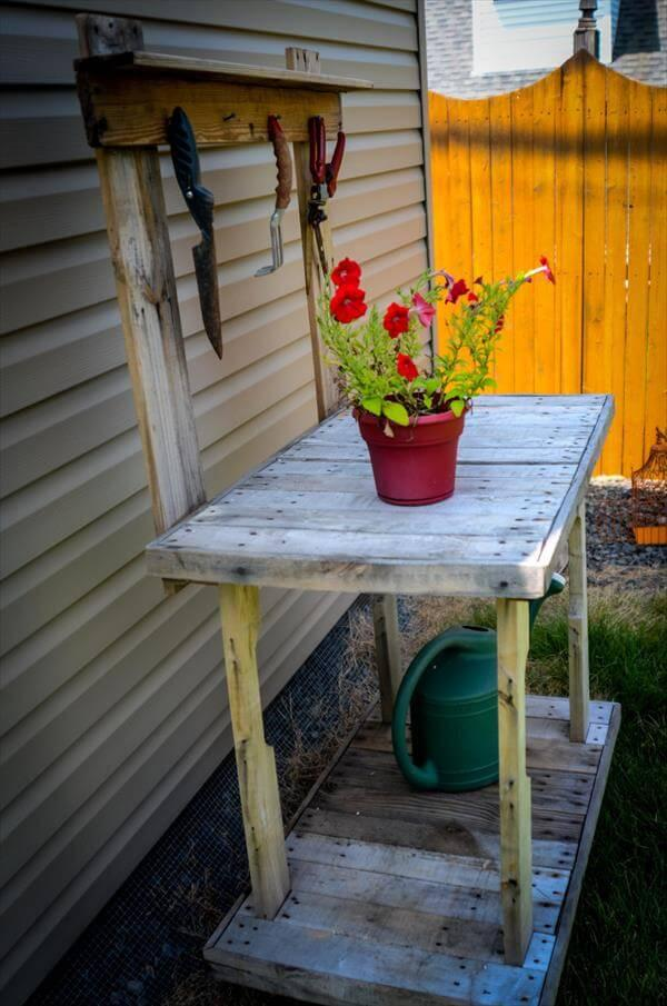 reclaimed pallet double tiered potting table