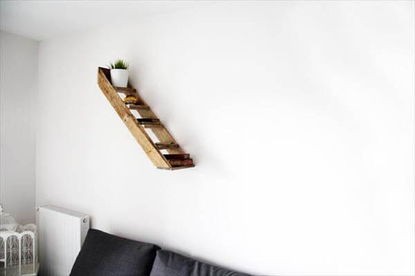 reclaimed pallet floating wall stair shelf