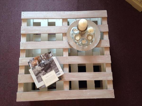 diy pallet white and mink coffee table