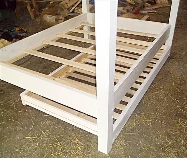 repurposed white twin pallet canopy bed