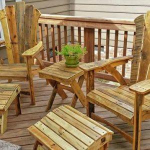 reclaimed pallet adirondack furniture set