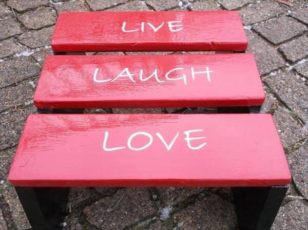 upcycled pallet painted foot stool