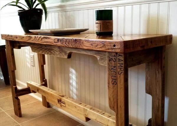 repurposed pallet chevron sofa table