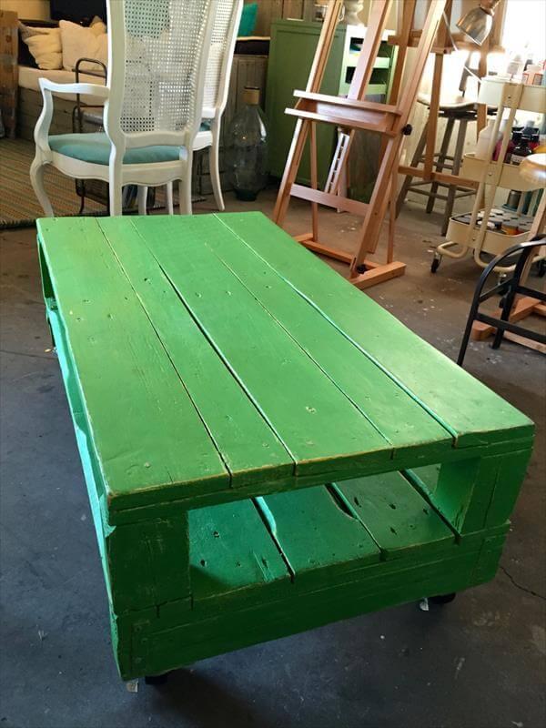 repurposed pallet green coffee table