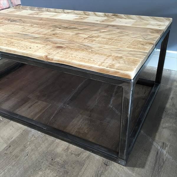 upcycled pallet coffee table with metal base