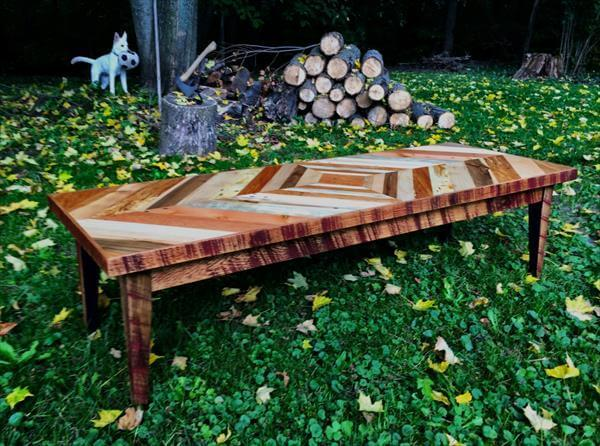 wooden pallet diamond patterned top coffee table
